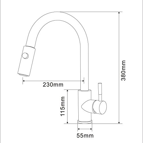 Homelody Spültischarmatur mit herausziehbarem /Ausziehbar Brause Einhebelmischer Wasserhahn Küche Armatur Mischbatterie Wasserkran hoher Auslauf Küchenarmatur - 5
