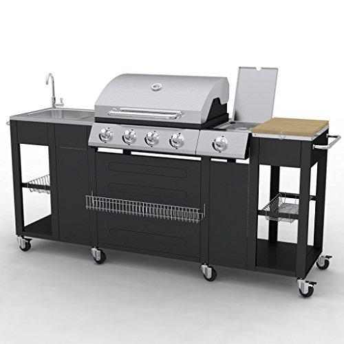 Festnight G-BBQ KIT BBQ Gasgrill Barbecue-Grill Grillwagen Edelstahl / Stahl Gas-Grill 204 x 59 x 112 cm