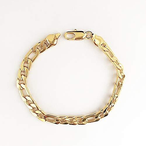 es Armband Schmuck Herren Edelstahl Handgelenk Flacher Fischgräten Link -  8mm Breite - Gold ()