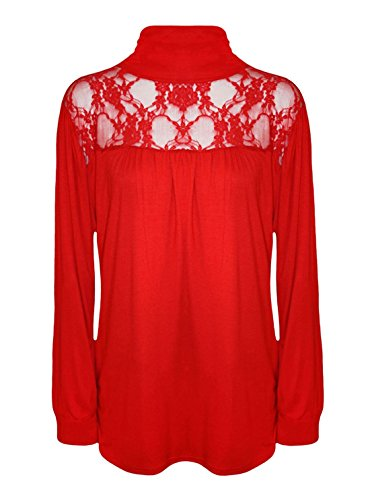 Rote (Lace, Polo Blouse) elegante, Rollkragen Bluse. Gr 46/48