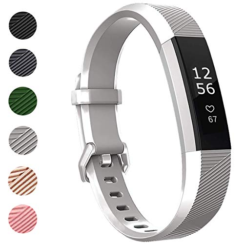 ANNYOO für Fitbit Alta HR Armband und Alta Armband, Alta Armband Weiches Verstellbares Sport Ersatzarmband Fitness Zubehörteil mit Metallschließe (L/Silber)