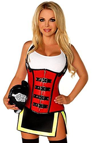 Firegirl Kostüm - Daisy Corsets, Damen-Korsett, 5 Alarm-Feuerirl-Kostüme - Rot - Large