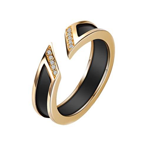 OAKKY Unisex Einfacher Stil Öffnung Ring Keramik Zirkonia Versprechen Aussage Verlobung Schmuck Komfort Passen Gold Schwarz Größe 54(17.2) (Weiß Gold Prinzessin Schnitt Ring Set)