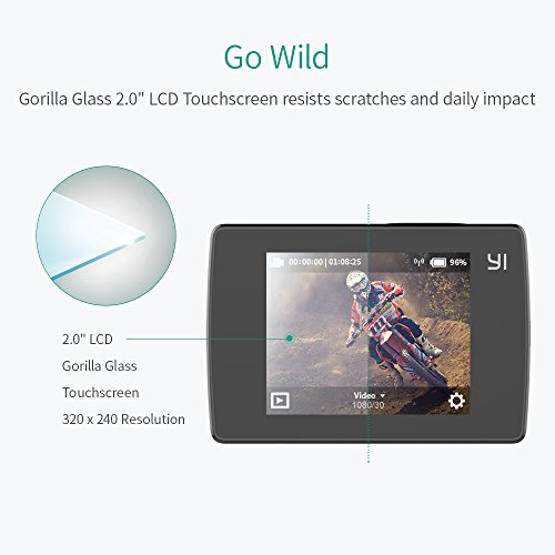 """YI Lite 4K Sports Action Camera Ultra 16MP WIFI 2.0"""" LCD Touchscreen Sony Sensor Helmet Camera 40M Diving Underwater Camera With Waterproof Case for Swimming Diving Surfing (Black)"""