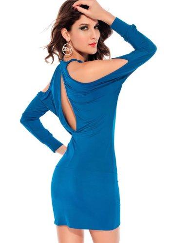 E-Girl manches longues Off Shouler Hallow -out Cocktail Soirée Robe, Rose Bleu