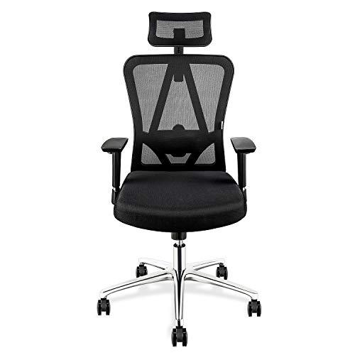 mfavour Ergonomischer Bürostuhl mit Kopfstütze Drehstuhl Computerstuhl Chefsessel, Verstellbare Kopfstütze und Armlehnen, Höhenverstellung, Atmungsaktives Mesh, Schwarz bis 150 kg