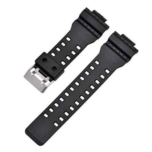 WAOTIER für G Shock 16mm GA100 G8900 GW8900 Armband Silikon Ersatzarmband Kompatibel für G Shock 16mm GA-100 G-8900 GW-8900 mit Zwei Schichter Löchern Wasserdichter Atmungsaktiver Band (Schwarz) (Band Watch G-shock Loop Strap)