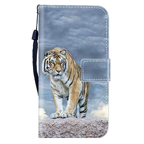 Sunrive Hülle Für WileyFox Spark X, Magnetisch Schaltfläche Ledertasche Schutzhülle Etui Leder Case Cover Handyhülle Tasche Schalen Lederhülle MEHRWEG(W8 Tiger)
