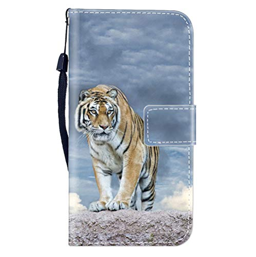 Sunrive Hülle Für DOOGEE BL12000, Magnetisch Schaltfläche Ledertasche Schutzhülle Etui Leder Case Cover Handyhülle Tasche Schalen Lederhülle MEHRWEG(W8 Tiger)