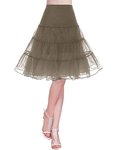ock Petticoat Unterrock Underskirt Crinoline Rockabilly Kleid Brown L ()