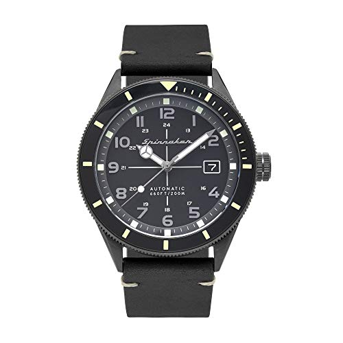 SPINNAKER Men's Cahill 43mm Black Leather Band Steel Case Sapphire Crystal Automatic Watch SP-5064-01