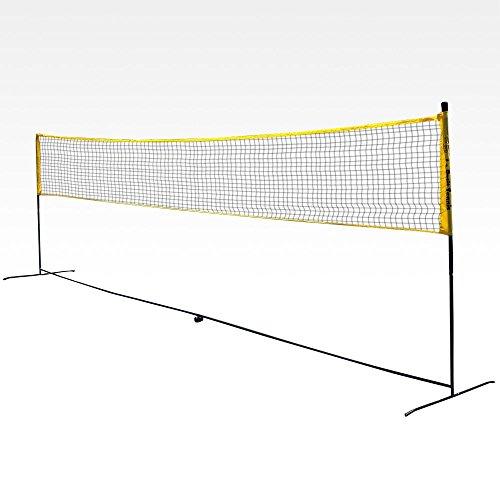 Rete portatile da badminton, misure regolamentari 6,10 x 1,55 m, trasformabile in rete regolamentare da tennis 5,5 x 0,9 m per gare Under 10, piedi pieghevoli