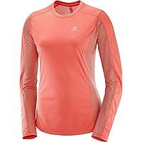 Salomon Mujer Camiseta deportiva de manga larga Agile LS, Mezcla de sintéticos, Coral, M