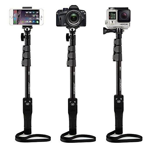 Evonyx Extendable handheld YunTeng YT-1288 Selfie Sticks Monopod + Phone Holder Clip + Bluetooth Remote Shutter Controller Self-Timer for iPhone iPad Samsung HTC iOS Andriod Cellphone Smartphones (BLA
