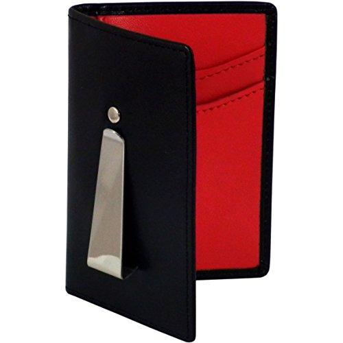 Woodland Leathers Deluxe schwarz und rot Leder Continental Slim Line Brieftasche und Geld Clip (Executive-geld-clip)