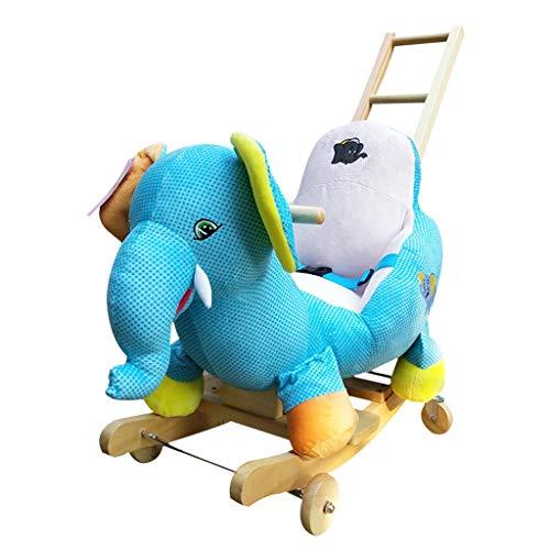 LINGZHIGAN Musik Rocking Horse Holz Schaukelstuhl Spielzeug Kleine Holzpferd Kinder Dual-Use Rocking Cradles Heben die Rückseite des LED-Licht-Gesicht (Farbe : Elephant)