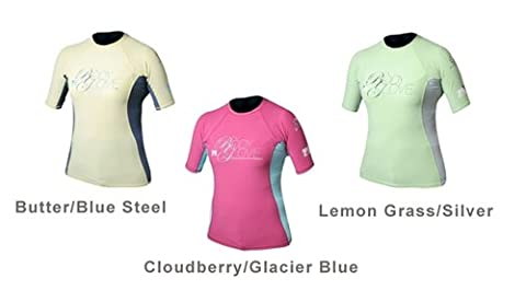 Body Glove Womens Deluxe s/a fitted Rashguards, Butter/blue Steel, X-Large