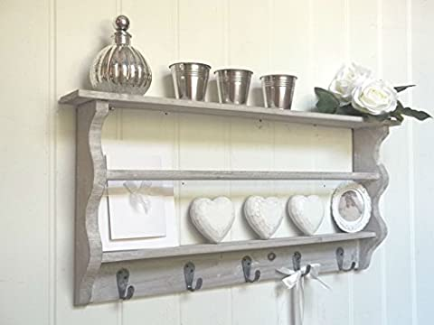 Vintage French Country Style Wooden Shelf Unit with Hooks- Perfect for Bathroom Essentials or Ornaments in any Bedroom, Hallway, Kitchen or Utility