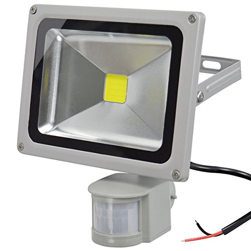 GLW 20W LED Bewegungs Sensor Fluter,12V AC oder DC im Freien IP65 Wasserdichtes Sicherheits Licht mit PIR,1800LM,6000k,Tageslicht weißes Korridor Licht,100W Halogen-Birnen-Äquivalent,KEIN Stecker -