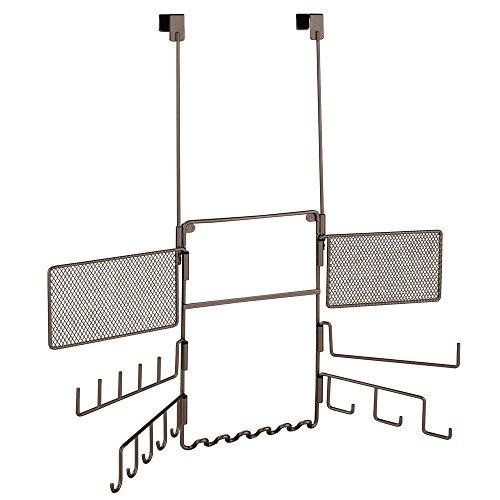 InterDesign Classico Schmuck Organizer | Tür Organizer für Haarschmuck, Armbänder, Ketten und Ohrringe | platzsparend Schmuck aufbewahren | Metall bronze