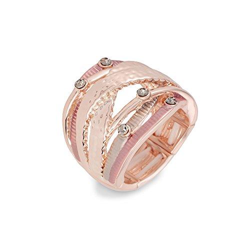 Anello da Donna sincera Stripes Elements Rose placcato oro Flexible/Elastico Free Size con pietre Swarovski 24-17596