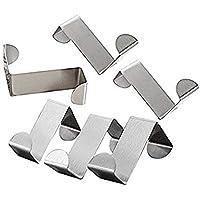 SYGA Set of 6 Over Door Rack Heavy Duty Reversible Brushed Stainless Steel Hook_Small(4cmx2cm)