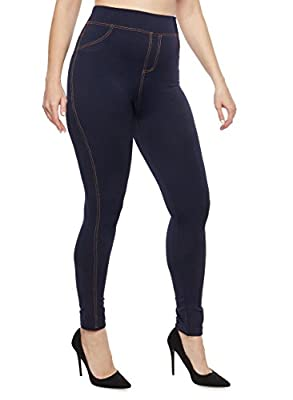 qraftink Plus Soft Comfortable Best Quality Jeggings for Gym Yoga Exercise and Office for Women with Denim Lining Style Waist 32 34