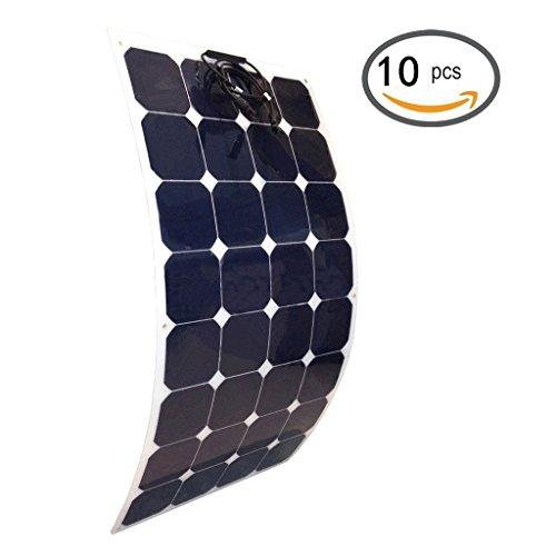 Giosolar Solarmodul flexibel 1000W (10X100W) 12V Solarmodul Monokristallin Solarzellen PV-Modul - Ideal zum Aufladen von 12V Batterien - Optimal fuer Wohnmobile, Caravans und Boote-Unebene Oberfl?chen