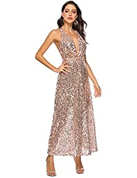 ecfceeb132a8 Prom Dresses Donne Sexy Benda arross Profondo Scollo a v Champagne Oro  Paillettes Cocktail Party Sera Cena
