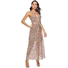 d6eb6d363cf5 Prom Dresses Donne Sexy Benda arross Profondo Scollo a v Champagne Oro  Paillettes Cocktail Party Sera Cena