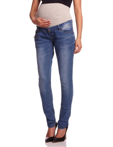 Heavy Destroyed Skinny Jean (MAMALICIOUS Damen Slim Umstands Jeans FREY POCKETZIP - BJ001 - NOOS, Gr. W26/L34 (Herstellergröße: 26), Blau (DENIM Wash:DUSTED BLUE HEAVY WASHED))