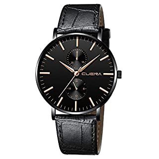 Casual Mens Simple Fashion Dress Wrist Analog Quartz Leather Band Watches Unique Business 30M Waterproof Watch (A)