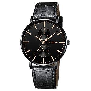 Militär Analog Quarz Armbanduhr Geschäfts Uhren der Art und Weisemänner mit schwarzem braunem Lederband
