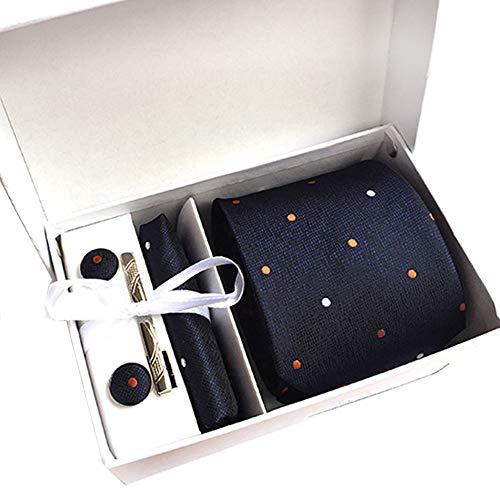 JUNGEN Corbata de Lunares y Rayas para Hombre Juego de Corbata y pañuelo Corbata Estampada de Informal con Gemelos Clip de Corbata Caja de Regalo Elegante Corbata Size 146x8x3.5cm (Azul 1)
