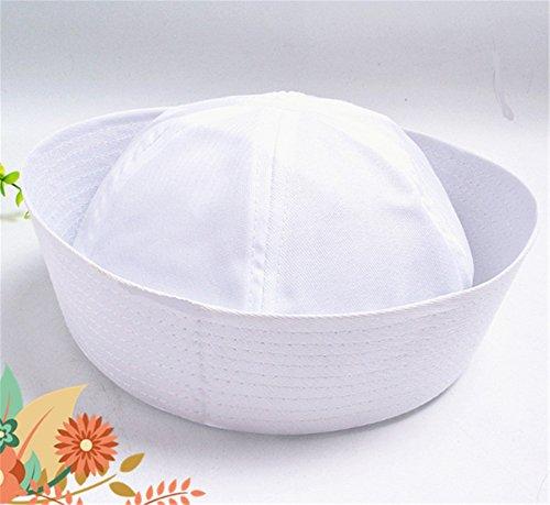 (Interesting® Weiße Baumwoll-Seemann-Hut-Kappe Kostüm-Unisex für Erwachsene)