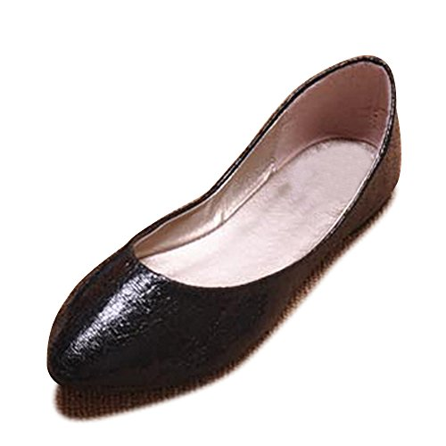 OCHENTA Femme Ballerines Tete Pointu Plate Mode Basique Chaussure Poiture Grande Noir