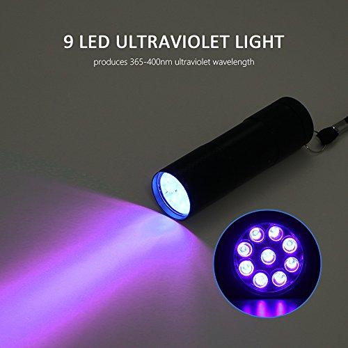 FORNORM UV Taschenlampe mit 9 LED, Schwarzlicht Handlampe Prüfgerät, Ultraviolett Detektor für Urinflecken Detektor Währung Authentifizieren, 365-400nm, Batterie Betrieben,Schwarz