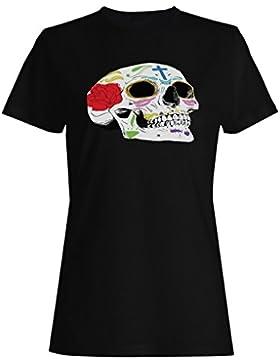 HELLOWEEN ESQUELÉTICO HEAD FUNNY NOVELTY NUEVO camiseta de las mujeres -k24f