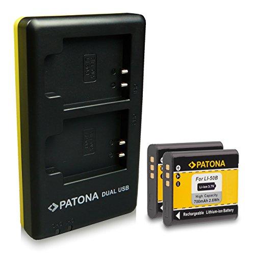 PATONA 2in1 Dual Cargador + 2x Batería Olympus Li-50B Ricoh DB-100 Pentax D-LI92 para Olympus mju 1010 9000 Tough-6000 8000 TG-630 TG-850 Traveller SH-21 Olympus SP-720UZ SZ-14 SZ-20 con micro USB