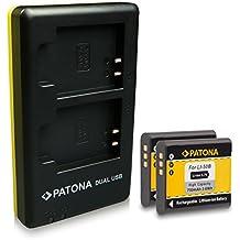 PATONA Dual Caricabatteria + 2x Batteria Olympus Li-50B Ricoh DB-100 Pentax D-LI92 per Olympus mju 1010 9000 Tough-6000 8000 TG-630 TG-850 Traveller SH-21 Olympus SP-720UZ SZ-14 con micro USB