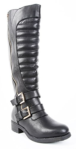 fourever Funky Damen leathertte gesteppt Riemen Riding Vegan Knie Stiefel Schwarz