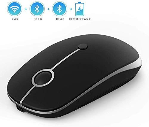 Jelly Comb Bluetooth Maus, DREI Modi USB + Bluetooth 1 + Bluetooth 2 Maus kabellos, einstellbar DPI 1000-1600-2400 wiederaufladbar leise Funkmaus für Windows, Mac OS, Android(Schwarz)