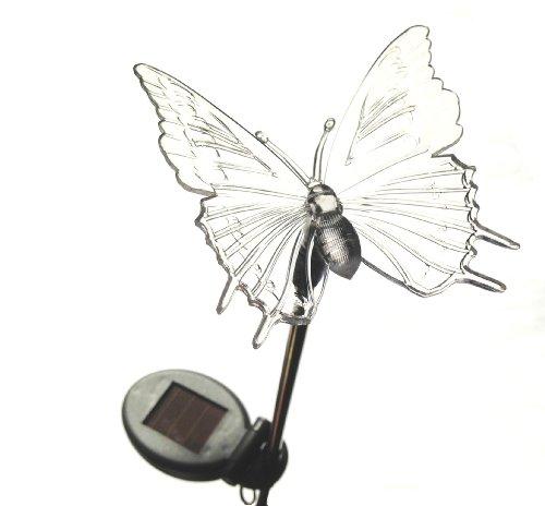 MQ Solarlampe Solarleuchte Wechselfarben Gartenlampe Vogel und Libellen Design Edelstahl