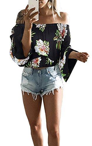 Camicetta donne kword sexy off spalla bohemian camicia stampata top maglia maglietta manica lungo camicia estiva elegante bluse lace t-shirt tops