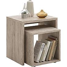 SET de noche cómoda mesa auxiliar mesa de café de flores de coloures de la mesa de roble de arena de decoración FMD 621-001 DUO