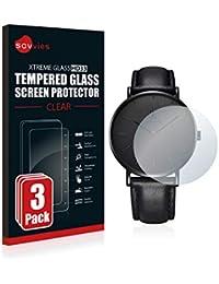 savvies Cristal Templado Compatible con Alienwork IK Reloj (36 mm) (3 Unidades) Protector Pantalla Vidrio Proteccion 9H Pelicula Anti-Huellas