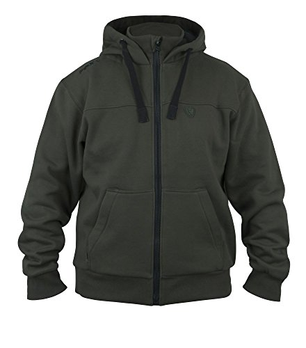 Fox Green Black heavy lined Hoodie - Angelpullover, warmer Hoody, Anglerpullover, Pullover für Karpfenangler, Kapuzenpullover, Größe:L