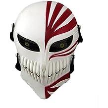 La cara de la muerte Paintball Airsoft Cosplay Cráneo Esqueleto Máscara protectora de la cara completa para la caza Traje militar táctico Halloween World Shopping4U (blanco rojo)