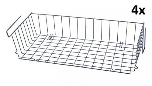 Quantio 4er Set Schrankkörbe Zum Einhängen - 56 x 25 - Metall - Grau - Regalkorb - Aufbewahrungskorb - Gewürzregal - Küchenregal - Schrank - Regal - Einhängekorb