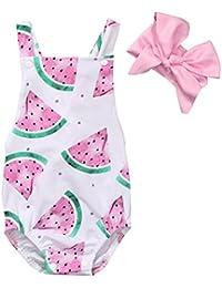 SAMGU Nouveau-né Baby Girls Watermelons Imprimer Backless Ruffle Bodysuit Romper avec Bandeau